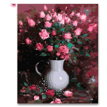 Red Rose white vase flowers oil painting by numbers classical  canvas paint coloring for modern decoration