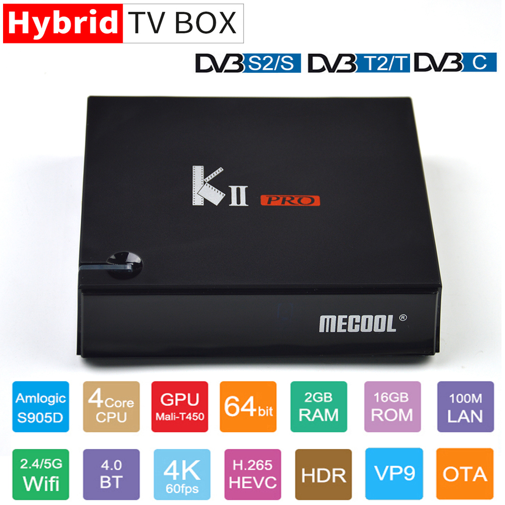 MECOOL KII PRO Set Top <font><b>Box</b></font> Amlogic S905D Quad-Core 64bit <font><b>Android</b></font> TV <font><b>Box</b></font> 2 GB + 16 GB DVB-S2 DVB-<font><b>T2</b></font> DVB-C Decoder 4 K 2,4G/5G Wifi image