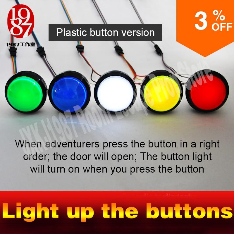 5 boutons pour la vraie vie room escape salle de jeu accessoires pour échapper chambre lumière up quatre bigl boutons afin pour déverrouiller serrure et r