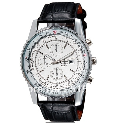 VaLia 8208 Men Leather Watch Analog With Calendar Brand Design Wristwatch Hotsale Male For Business PENGNATATE