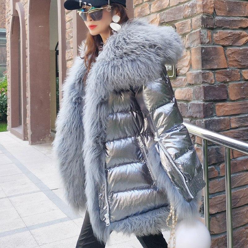Women Winter Down Jacket Coat Long Warm Silver Parkas Mongolia Sheep Fur Duck Down Coat Parka