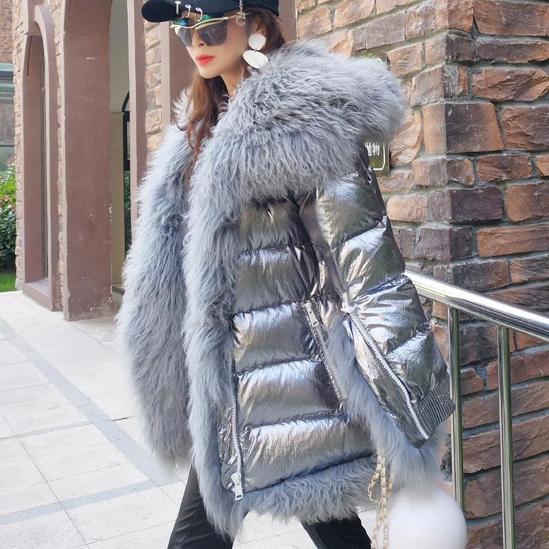 Chaqueta de Invierno para mujer abrigo largo cálido de plata Parkas Mongolia piel de oveja pato abajo abrigo Parka-in Plumíferos from Ropa de mujer    1