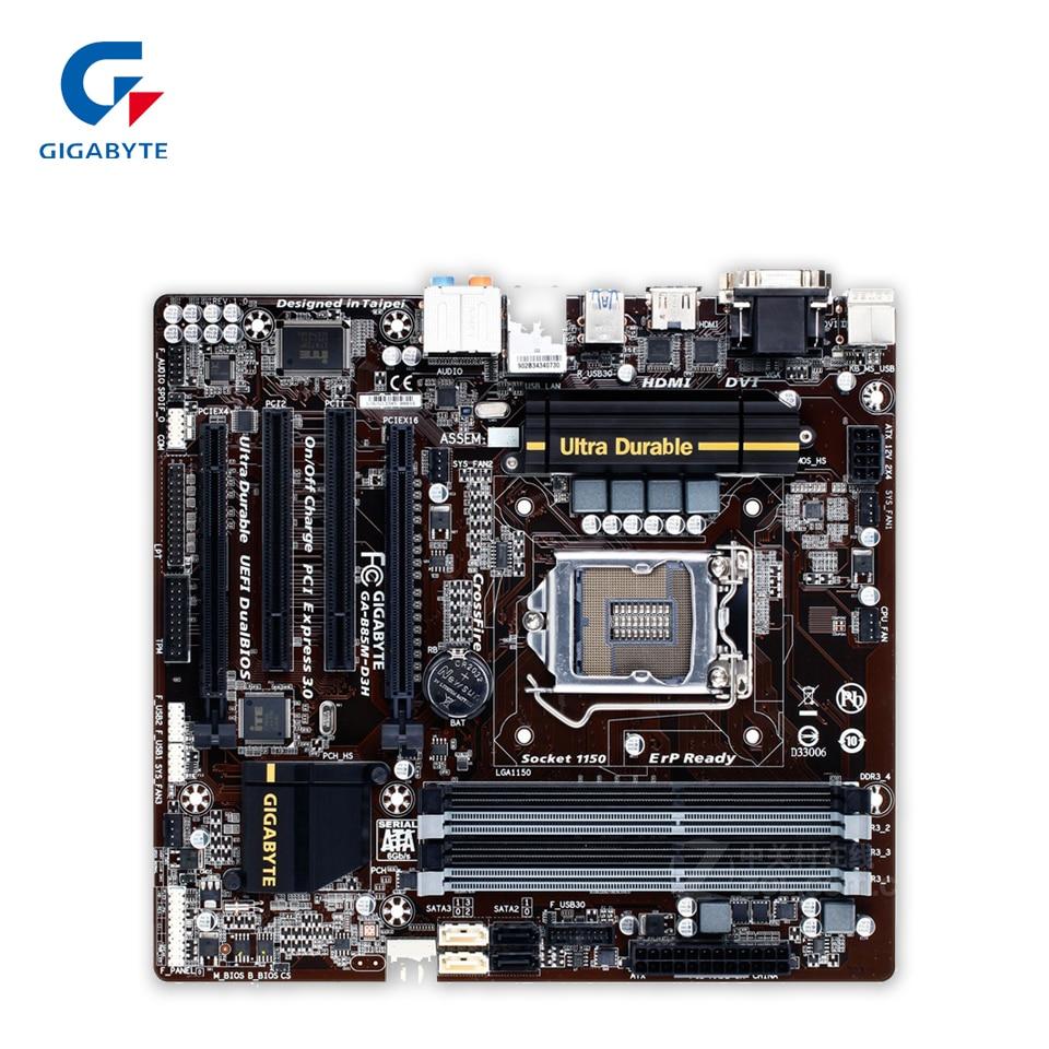Gigabyte GA-B85M-D3H Original Used Desktop Motherboard B85M-D3H B85 LGA 1150 i3 i5 i7 DDR3 32G Micro-ATX used for asus b85m d plus desktop motherboard b85 socket lga 1150 i7 i5 i3 ddr3 16g sata3 micro atx