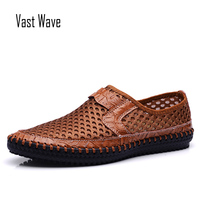JZZDDOWN Summer Breathable Mesh Shoes Mens Casual Shoes Genuine Leather Slip On Brand Fashion Summer Shoes Man Soft Comfortable