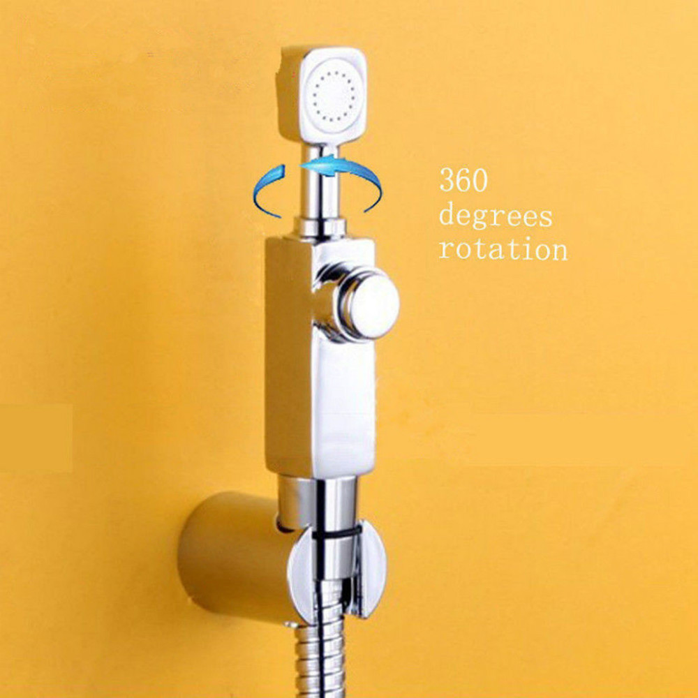 Brass Chrome Handheld Bidet Sprayer Toilet Kit Spray Wall Mounted holder