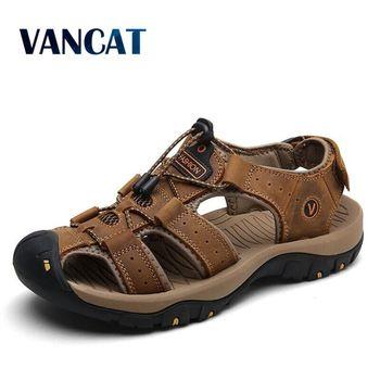 Vancat 2019 nouvelle grande taille en cuir de vachette véritable hommes sandales d'été qualité plage pantoufles espadrilles décontractées en plein air chaussures de plage 1