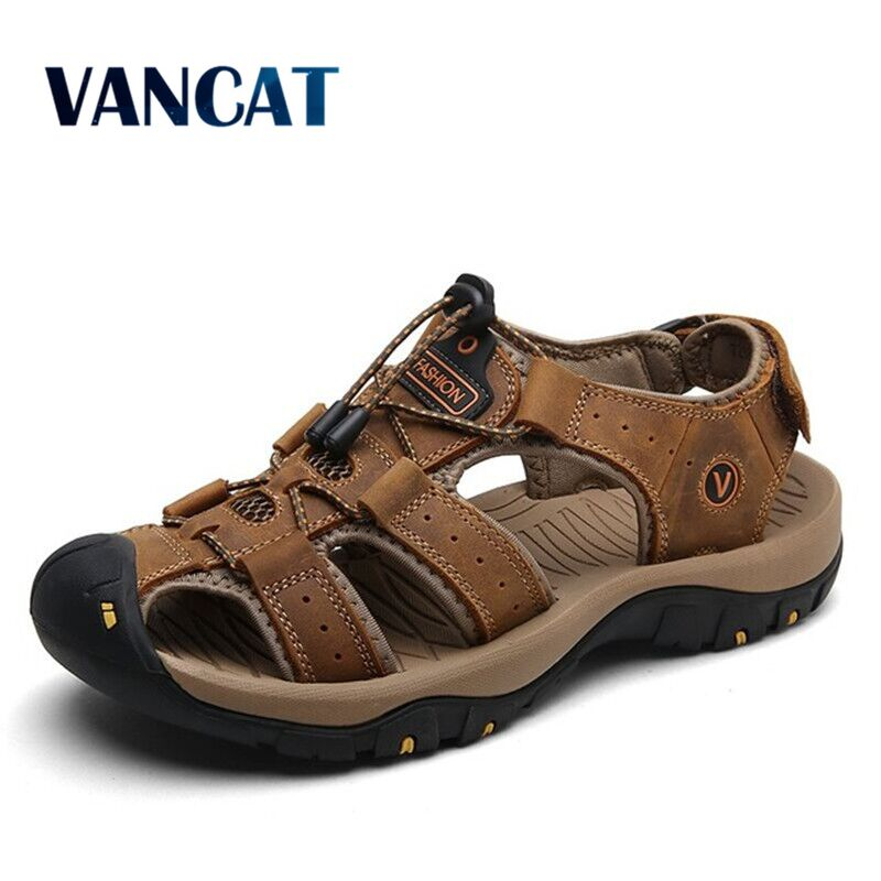 Vancat 2019 New Big Size Genuine Leather Cowhide Men Sandals Summer Quality Beach Slippers Casual Sneakers Outdoor Beach Shoes title=