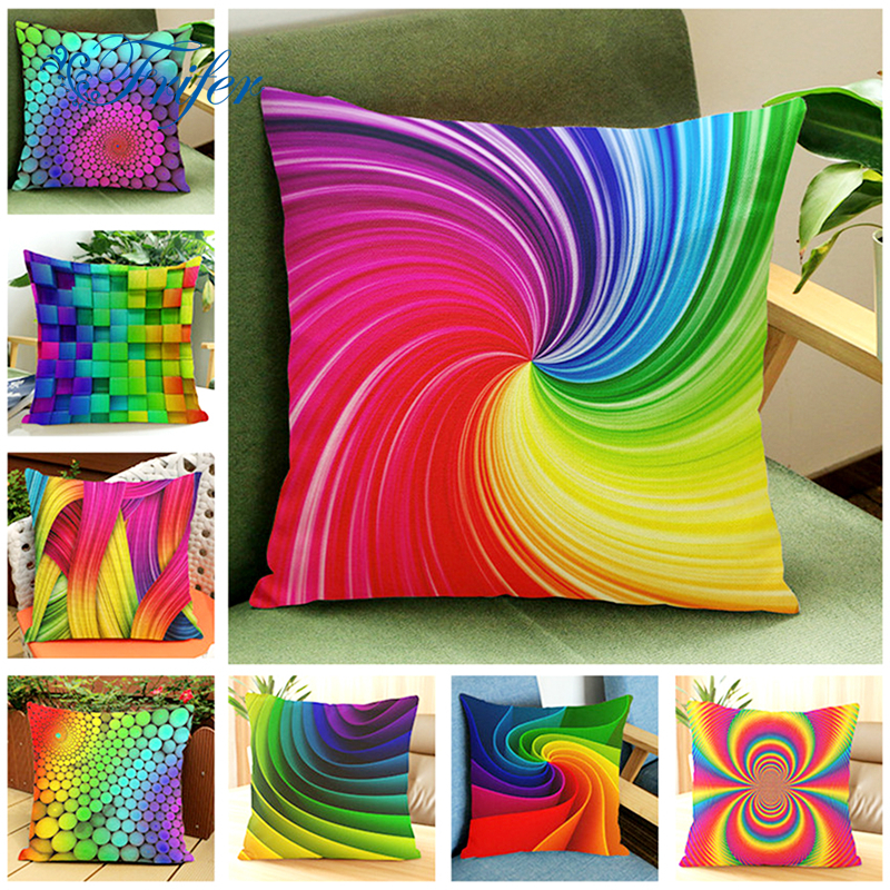 Colorful Abstract Rainbow Cushion Cover Home