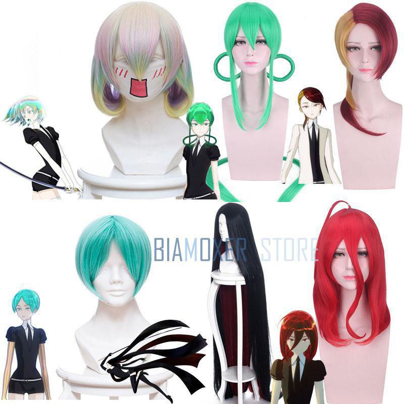 Anime Land Of The Lustrous Red Cinnabar Yellow Diamond Green Jade Phosphophyllite Wig Houseki No Kuni Cosplay Wigs Black Hair ...