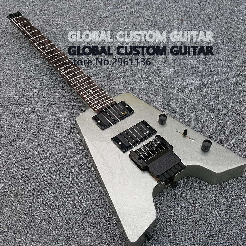 New Headless Electric Guitar Double roll electric guitar Finish the silver pink stain, Black Hardware, Real photo show,Wholesale