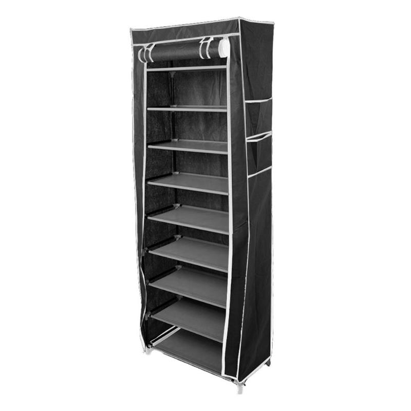 10 Layers 9 Grids Non-Woven Fabric Shoe Rack Shelf Shoes Storage Cabinet