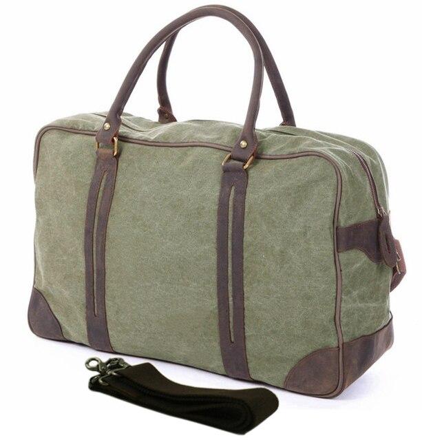 2016 dos homens de Couro Da Lona Do Vintage Militar Bolsa De Viagem Saco Grande Saco Da Bagagem Do Duffle Bag Canvas Tote Boston Saco fim de semana Durante A Noite grande