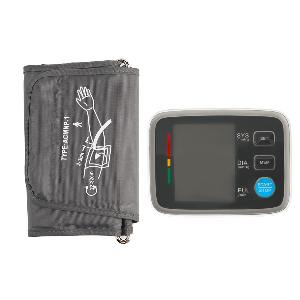 New Digital LCD Fully Automatic Upper Arm Style Blood Pressure Monitor Best Selling portable lcd digital manometer pressure gauge ht 1895 psi air pressure meter protective bag manometro pressure meter