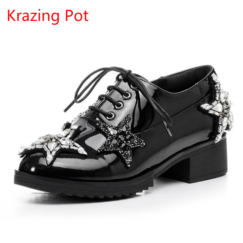 2018 Fashion Genuine Leather Brand Shoes Thick Heel Platform Preppy Style Loafer Women Crystal Star Pumps Solid Lace Up Shoe L55 2017 new fashion brand shoes thick heel women pumps tassel metal crystal diamond buckle genuine leather med heel lady shoes l24