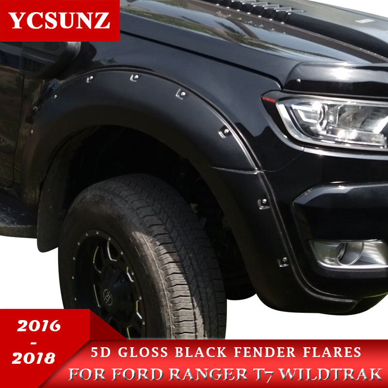 2011-2016 Ford Ranger T6 XL XLT Pocket Style Black Fender Flares 2013 2014 2015