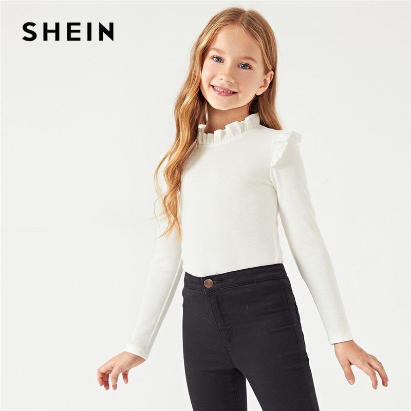 цена SHEIN White Solid Girls Frilled Neckline Casual Kids T-Shirt Girls Tops 2019 Spring Long Sleeve Ruffle Cute T-Shirts For Girls