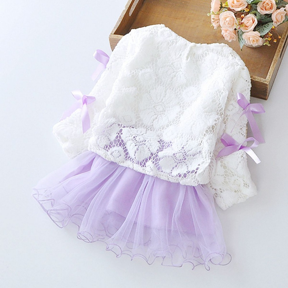 Spring Long Sleeved Flower Bow Infant Kids Baby Bebe Girls Lace Tops Dresses Two Pieces Princess Tutu Birthday Party Dress in Dresses from Mother Kids