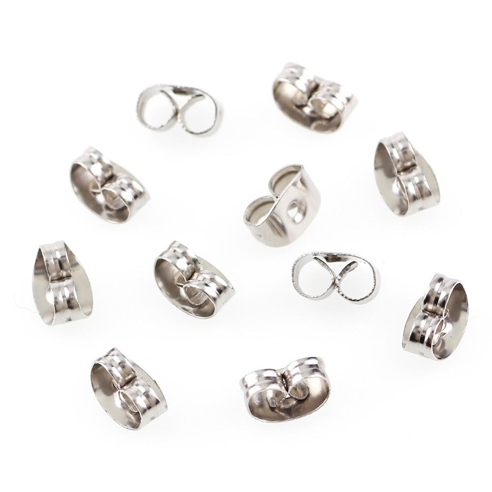 100pc 4x6mm Silver Tone Stainless Steel Ear Nut Clutch Earring Stoppers Post Stud Earrings Backs DIY Jewelry Findings