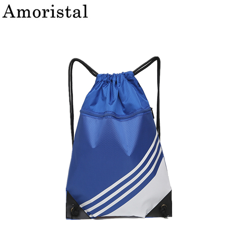 Drawstring Bag Pocket Stripe Backpack Lightweight Men Women Sport Outdoor Folding Storage Student Bag Sack Football Black SY108