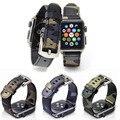Кожаный Ремень Камуфляж Замена Apple Watch Band Ссылка Браслет с Металлической Пряжкой Для Apple iWatch 38 мм и 42 мм Синий