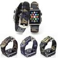Correa de cuero camuflaje apple watch band enlace pulsera con hebilla de metal de reemplazo para apple iwatch 38mm y 42mm azul
