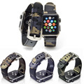 Leather Strap Camouflage Replacement Apple Watch Band Link Bracelet with Metal Buckle For Apple iWatch 38mm & 42mm Blue