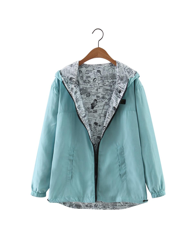 Nice Autumn Women Hoodies Bomber   Basic     Jacket   Pocket Zipper Hooded Two Side Wear Cartoon Print Outwear Female Loose Coat