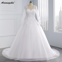 Vestido De Novia Detachable Long Sleeve Wedding Dresses Lace Applqiues Ball Gown Bridal Gown Robe De