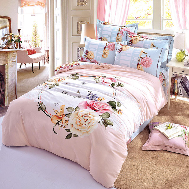 High Quality Beautiful Flowers Garland Pink Bedding Set Queen King Size Brushed Cotton  Fabric Warm Winter Bed Sheets