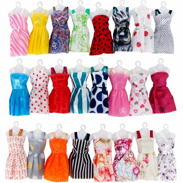 Random 12 PCS Mixed Sorts Handmade Different Colourful Fashion Dress Cute Cool Clothes For Barbie Doll Accessories Girl Gift Toy