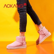 AOKANG Winter Snow Boots Women Cow Suede Warm Plush Insole Black zapatos de hombre boots Comfortable Round Toe