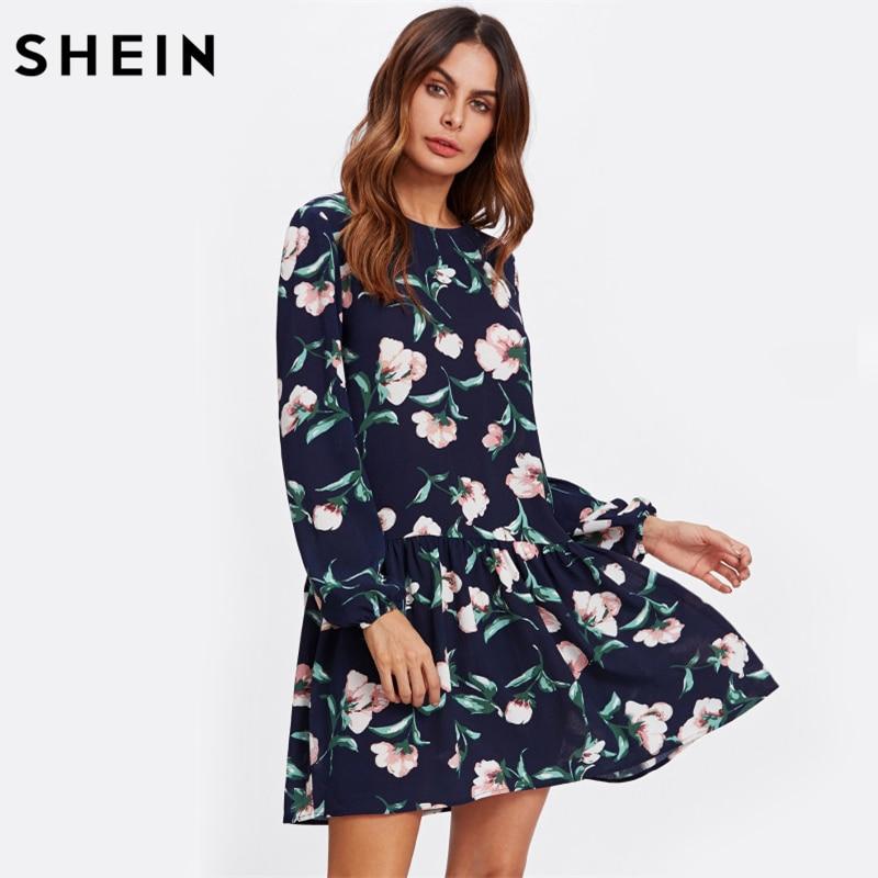 SHEIN Allover Flower Print Drop Waist Dress Ladies Navy Long Sleeve Autumn Womens Dresses Elegant Floral A Line Dress