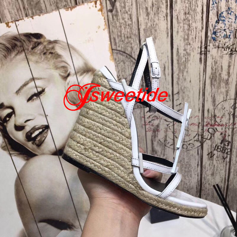 Echtes Leder Freizeit und komfort Keil sandalen frauen schuhe Dicken boden Keil frauen mode hohe qualität high heels schuhe-in Hohe Absätze aus Schuhe bei  Gruppe 2