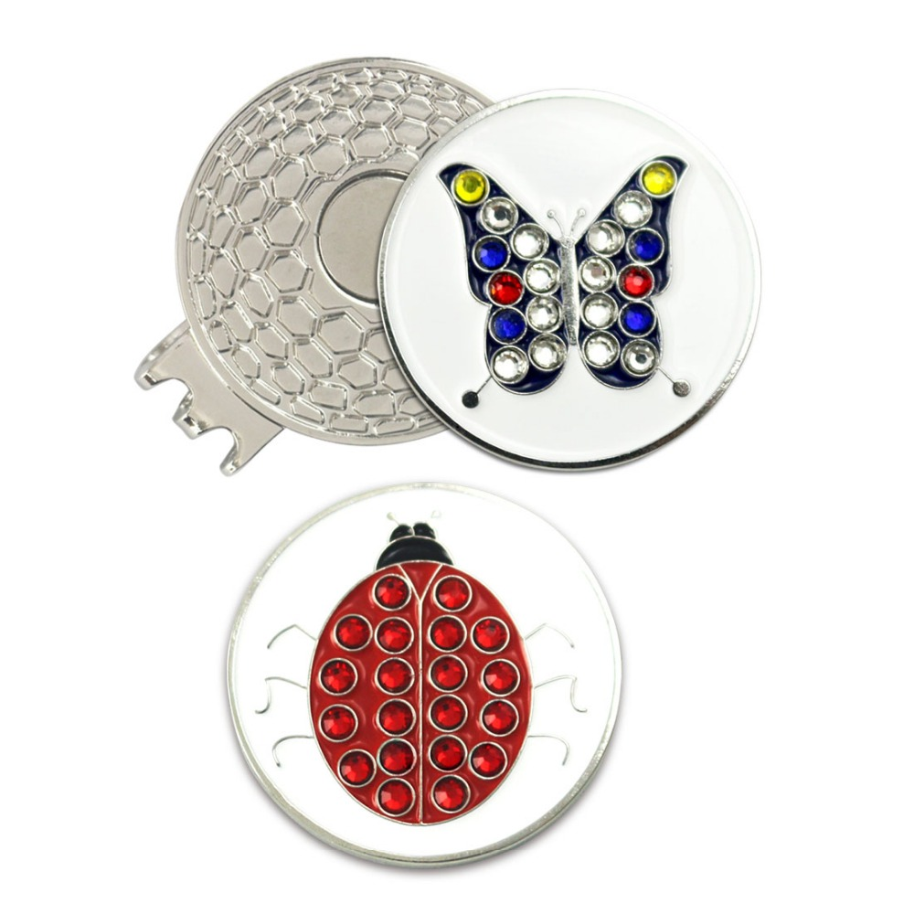 PINMEI Crystal Butterfly And Ladybird Golf Ball Mark Magnetic Hat Clip Sets 1pc Cap Clip And 2pcs Golf Markers For Lady/Children