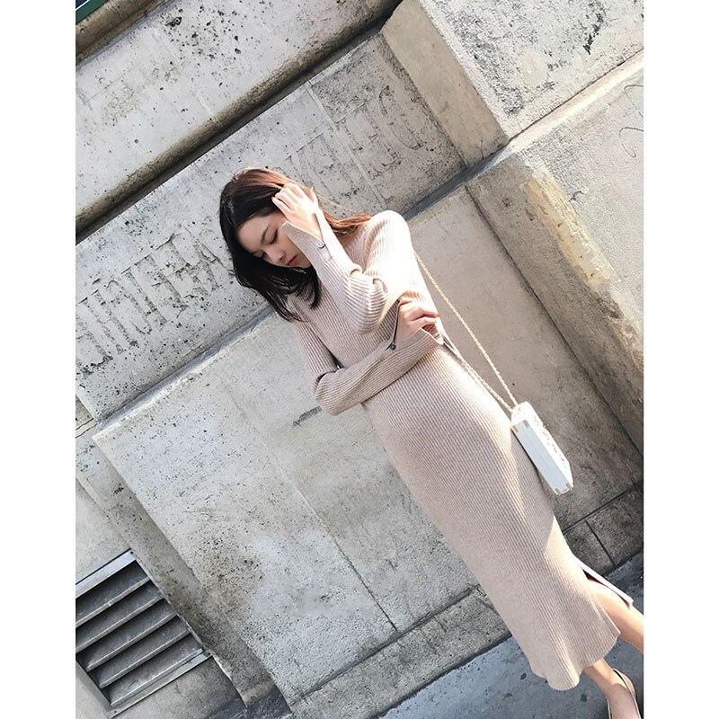 2017 женские тонкий средней длины основной, placketing трикотажные цельнокроеное платье