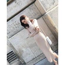 2017 women's slim medium-long basic thick basic placketing knitted one-piece dress
