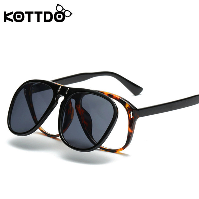 f18fe78d255 KOTTDO New Steampunk Sunglasses Retro Clamshell Sunglasses Clear glasses  Fashion Men s and Women s Sunglasses gafas de