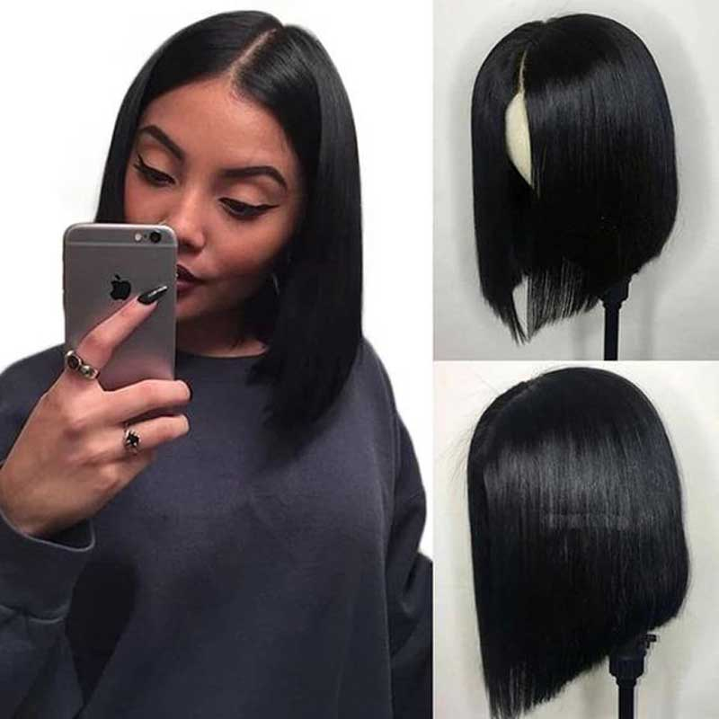 Short Straight 13*6 Lace Front Bob Human Hair Wig For Black Women Malaysian Wig With Closure Cheap Lace Frontal Wigs Glueless(China)