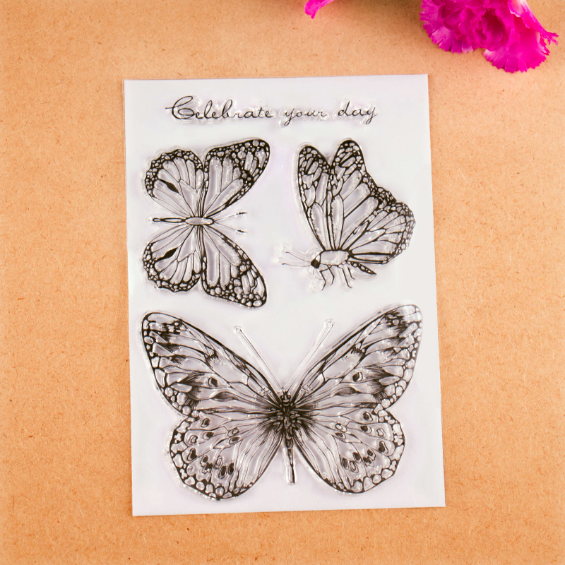 New Scrapbook DIY Photo Album Cards Transparent Acrylic Silicone Rubber Clear Stamps Sheet  Butterfly wyf1017 scrapbook diy photo album cards transparent silicone rubber clear stamp 11x16cm camera