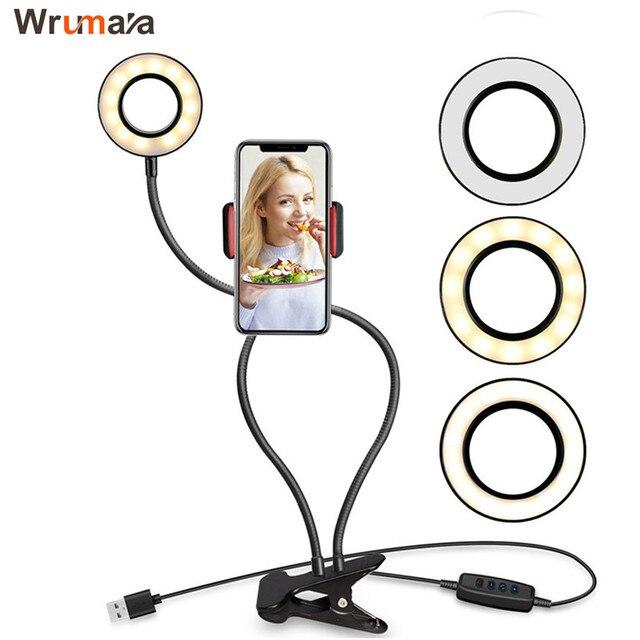 Wrumava 2 ב 1 LED טבעת אור עם Lazy טלפון Selfie מחזיק מחזיק 3 בהירות מנורת שולחן סוגר עבור טלפון אנדרואיד iPhone