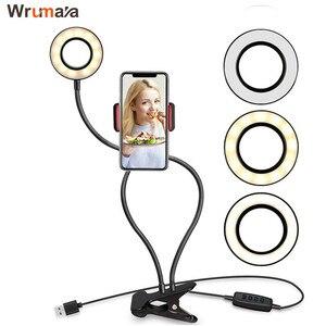 Image 1 - Wrumava 2 w 1 LED pierścień lampa leddo smartfona z leniwy uchwyt na telefon 3 jasność uchwyt na uchwyt lampy biurko dla iPhone Android telefon
