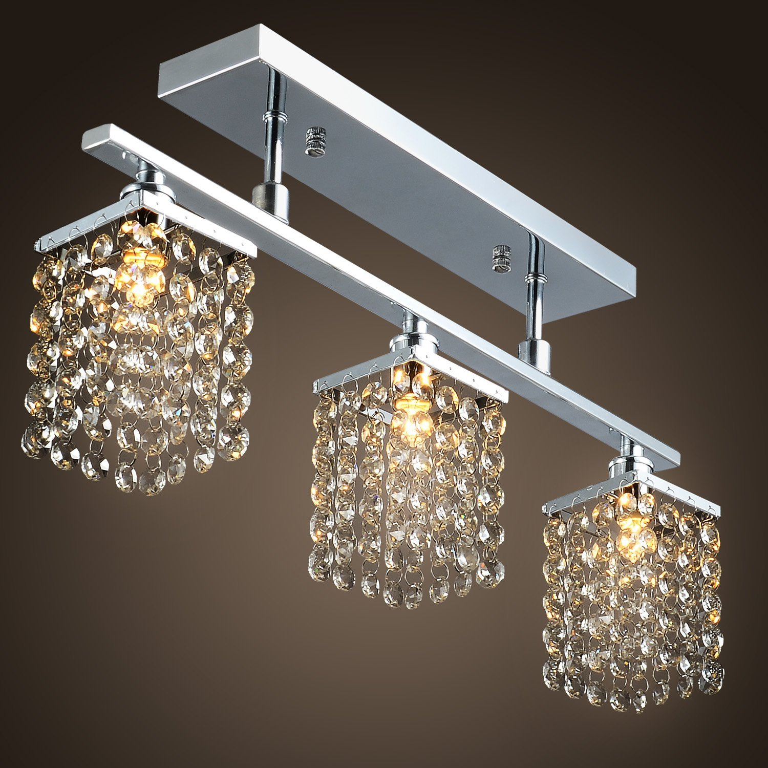 3 Light Hanging Crystal Linear Chandelier With Fixture Modern Flush Mount Ceiling For