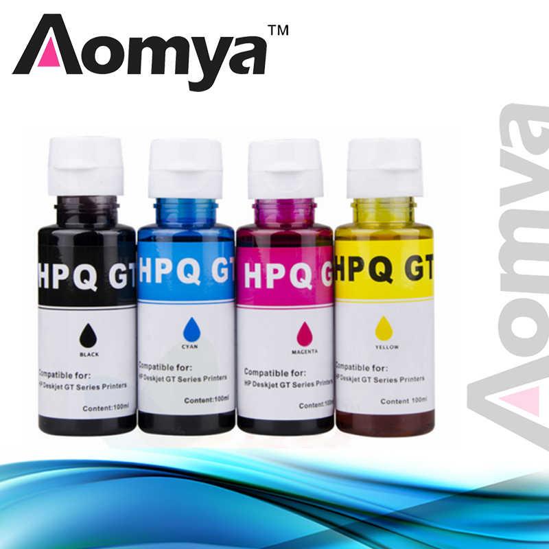 4X100 Ml Aomya Mengkhususkan Diri Dye Ink Tinta Isi Ulang Kit Kompatibel untuk HP Deskjet GT5810 GT5820 GT51 GT52 GT seri Inkjet Tinta Printer