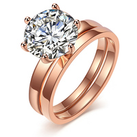 2017 New Fashion Design 2 Circles Eternity Love Single CZ Diamonds Ring Set Engagement Wedding Rings