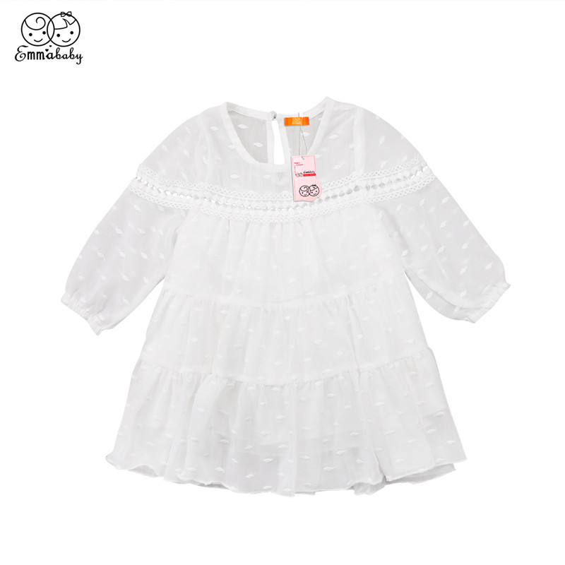 New 2018 Chiffon Dress For Girls Toddler Kids Baby Girl Princess Tulle Dresses Long Sleeve Dress For Girls Party Formal Dresses