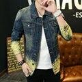 Случайные Царапины Джинсовая Куртка мужская Мода Лоскутное Джинсовые Куртки Тонкий Личности Карман Человек Джинсовая Куртка Пальто Плюс Размер 3XL