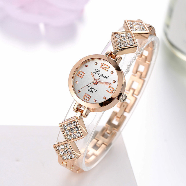 Lvpai Relogio Feminino Luxury Rose Gold Quartz-Watches Women Fashion Bracelet Wa