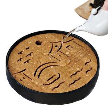 Bandeja de chá de bambu cerâmica drenagem armazenamento de água kung fu conjunto chá sala placa mesa chinês japonês xícara chá cerimônia ferramentas conjunto chá