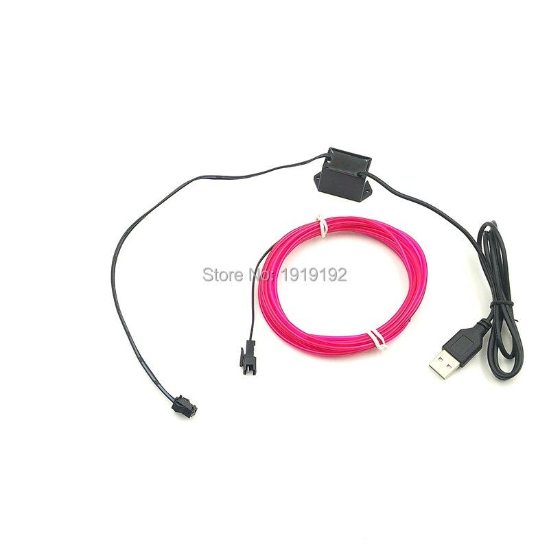 DIY 2,3mm 3 Meter Blau EL draht Flexible Neon Glow Light EL Kabel Seil für geburtstagsparty garten haustier Dekorationen Licht Mit USB