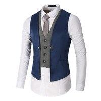 Chaleco Hombre Brand Autumn Vest Men Slim Fit Mens Wedding Dress Vests Fashion Plaid Patchwork V